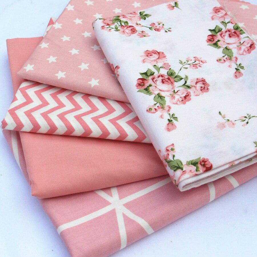 100% bavlněná tkanina 5ks / šarže 40x50cm růžový potisk tkanin pro patchwork Šicí sukně Dětské panenky Látkové povlečení Deka Tissus