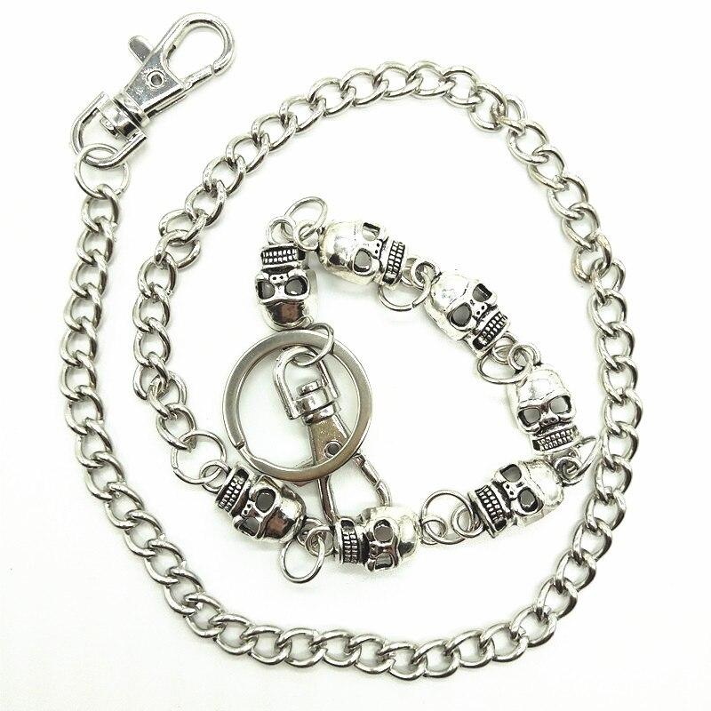 Men Biker Wallet Keychain Punk Rock Style Silver Skull Metak Chain Pants Chain Jeans Trousers Hipster Waist Key Chain 25.6