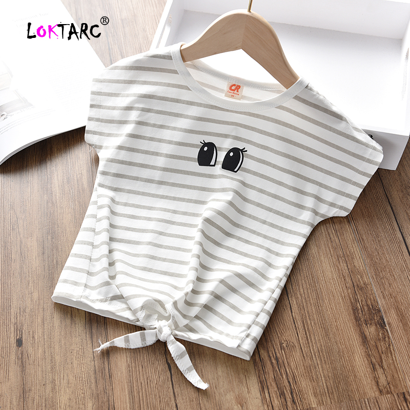 Girls Shirts Clothing Tops Short-Sleeve Striped Summer Casual O-Neck LOKTARC with Front-Knot-Design