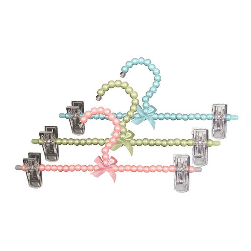 10 db / tétel színes díszes gyöngy nadrág szoknya fogas klipekkel, műanyag esküvői ruha alsó fogas a hölgy lány