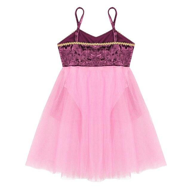 Kids Teens Gold Trim Mesh Ballet Leotard Latin Ballroom Dress Children Girls Skating Contemporary Lyrical Dance Costumes 4