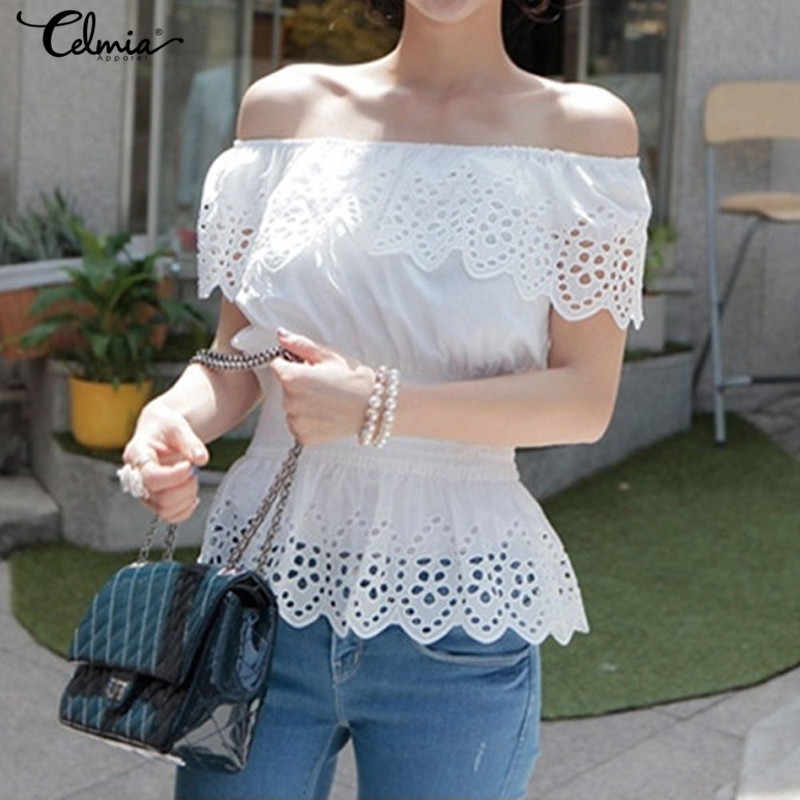 New Womens Blouses 2019 Autumn Sexy Lace Patchwork Shirts Off Shoulder Tops Casual Loose Long Sleeve Plus Size Blusas Blouses & Shirts