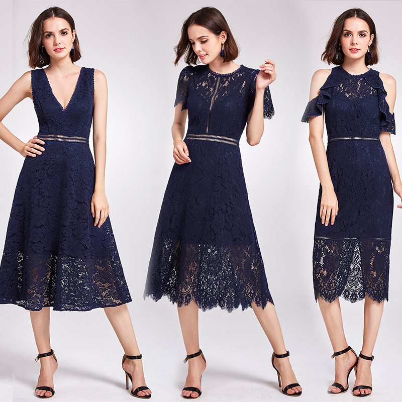 New Arrival Cocktail Dresses Ever Pretty AS05921NB Women's Cheap A-line Lace Short Sleeve Cut-out Plus Size Modest Party Dresses