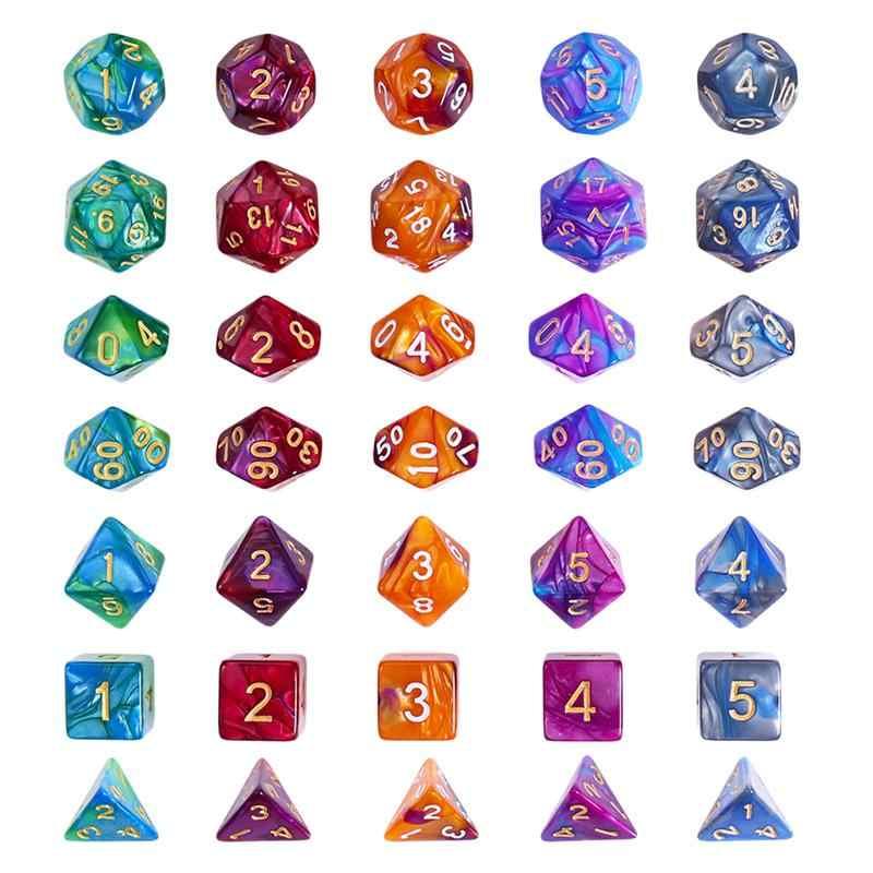 35pcs Digital ลูกเต๋าอะคริลิค Dices เกมกระดานจำนวน Dices สำหรับเกมตารางมังกร Dungeons DND