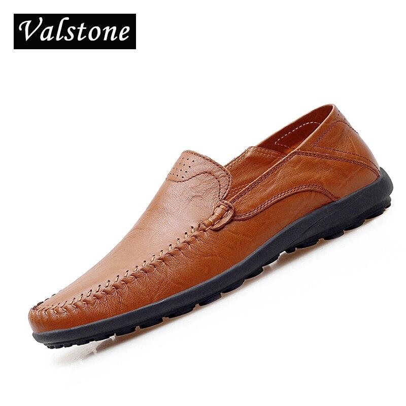 Valstone Men's Leather Shoes Casual Italian handtailor Mocassins 2018 Autumn Antiskid loafers flats driving shoes Plus size 47