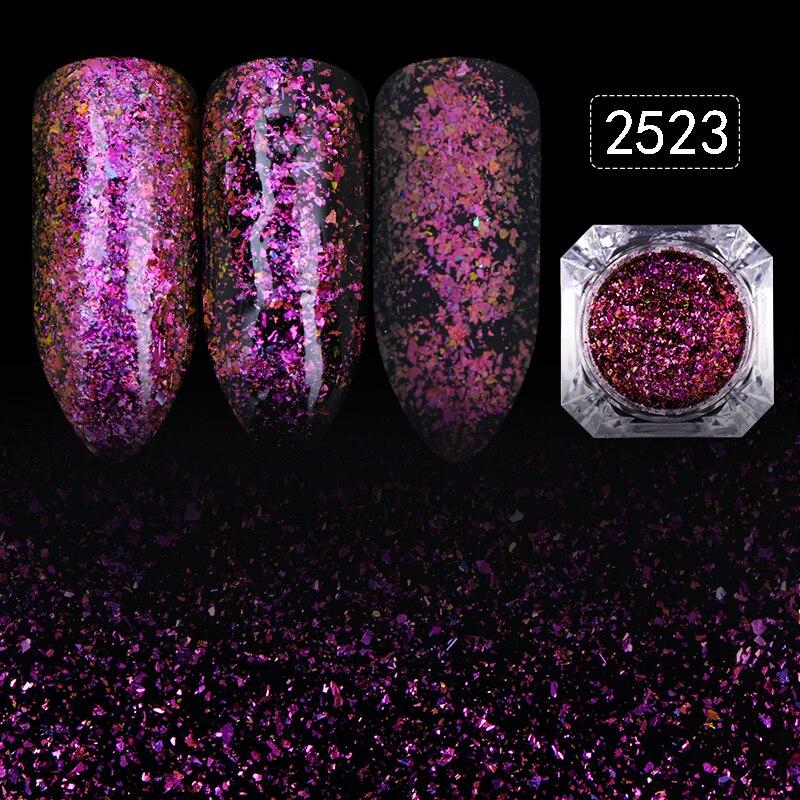 12 Kleuren Sterrenhemel Nail Glitters Poeder 1 Doos Prachtige Nail