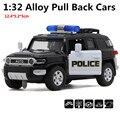 1:32 масштаб сплав Черный Полицейский автомобиль, вытяните назад игрушки, модели автомобилей, Toyota cruiser, бесплатная доставка