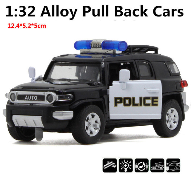 1:32 scale alloy Black Police car, pull back toys, model cars, Toyota cruiser,free shipping