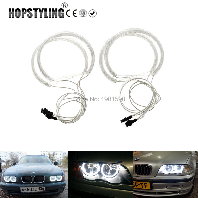 Hopstyling 1 set CCFL Halo rings angel eyes for BMW E46 Non projector A+B Error Free car headlight kits 2x131mm 2x145mm White free shipping ccfl angel eyes for corolla non projector halo ring corolla angel eyes for toyota