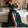 Изумрудно-Зеленый Высокая Сплит Побочные Sexy Пром Платья 2017 Новое Прибытие с Плеча Line Vintage Вечернее Платье с Кружевной Топ LIYATT