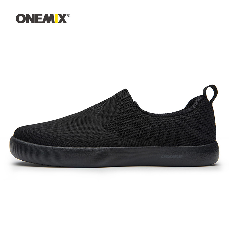 Onemix Men Skateboarding Shoes Women Slip On Black Knit Designer Classic Skateboard Sneakers Outdoor Jogging Walking Trainers