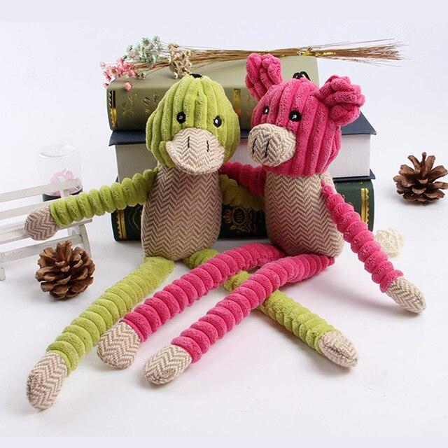 Pet Brinquedo Do Cão de Som Interativo de Pernas Longas Pernas Longas pato porco de Pelúcia Rosa Verde Brinquedo Do Gato Brinquedo Do Cão Universal Comprimento 44 cm
