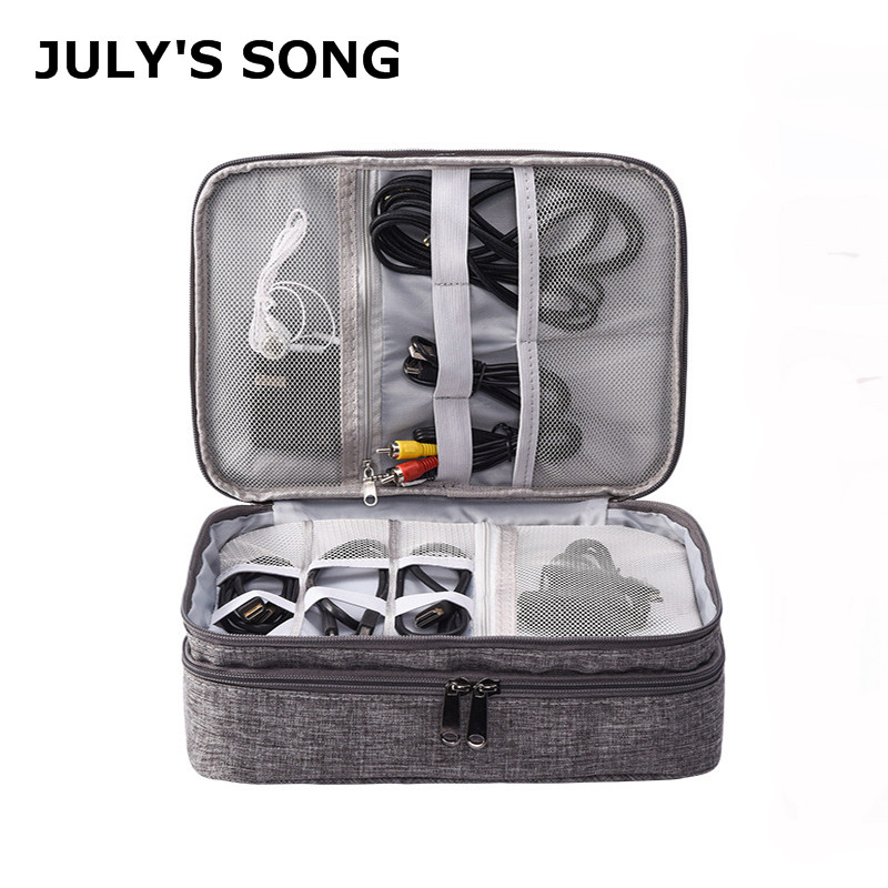 JULY'S SONG Portable Digital Storage Bag Three-Tier Cable USB Charger Wires Organizer Travel Power Bank Pouch Digital Device Bag