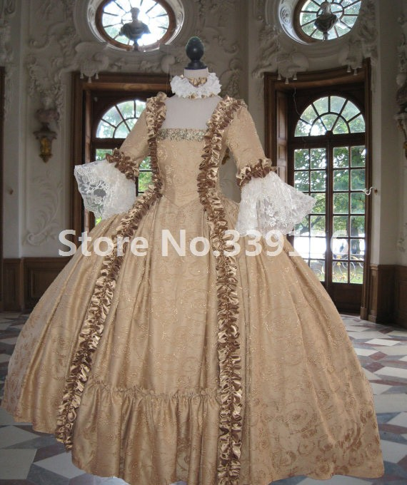 Colonial Georgian 18th century Marie Antoinette Day Court Gown French Colonial Movie Dress Gown Costume