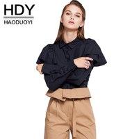 HDY Blouse Women Elegant Blouse Woman Winter Autumn 2017 Black OL Blouses Long Sleeve Feminine Shirt