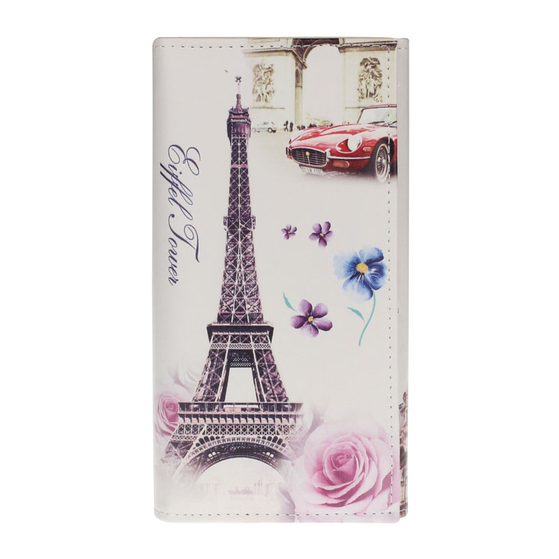 Hot Sale 2018 Hot Fashion Eiffel Tower Rose Women Purse Clutch Bag Card Holder Flower Pattern Female Long Wallets Bags Handbags