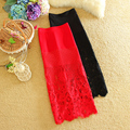 Celebrity Style Sexy Fashion Lace Skirt Women Black/Red Hollow Out Flower Skirts Ladies Long Pencil Tube Bodycon Saias Faldas