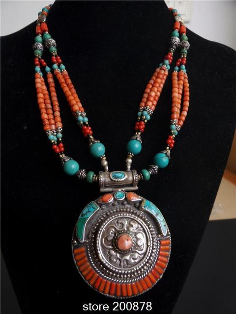Tnl569 master design nepal indian brass inlaid turquoise coral tnl569 master design nepal indian brass inlaid turquoise coral pendant necklace tibet big round pendants boho mozeypictures Gallery