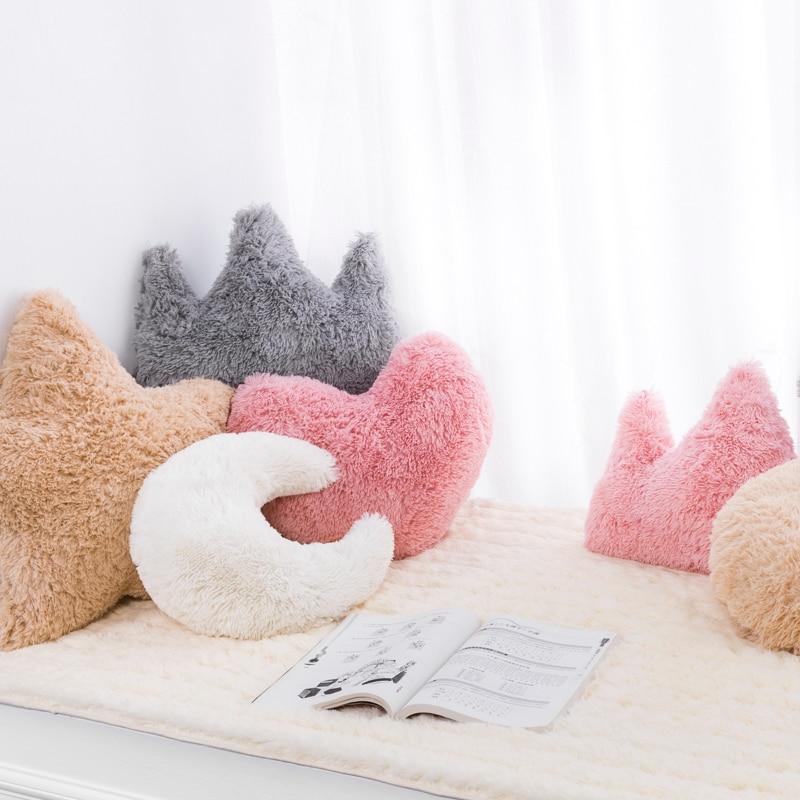 Star Moon Crown Baby Pillow Newborn Baby Room Decor Bedding Crib Decoration Infantil Pillow Doll Nordic Cushion INS