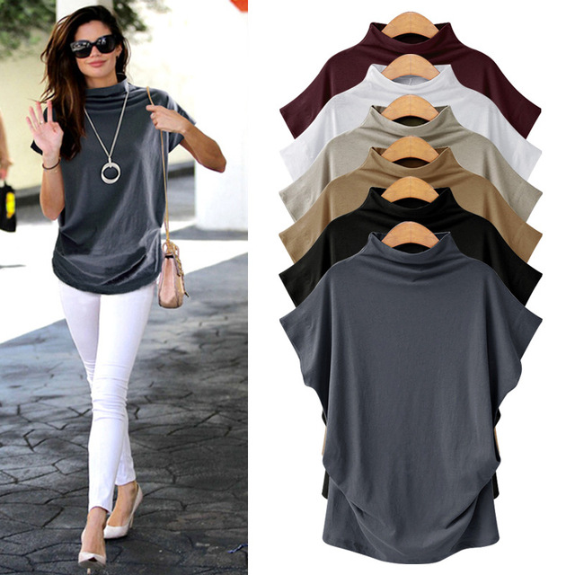 Short Sleeve  2019 Women T-shirt Large Size Loose Women Top Wild Mid-length Half-high Collar Bottoming Shirt