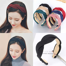 European and American womens retro wide-brimmed cross headband Fashion cloth multi-color headwear