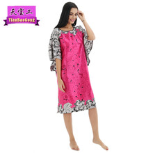 Sexy Silk Nightgown Summer 2017 Women Short-sleeves Sleepshirts Personality printing Night skirt Ladies Lingerie Silky Nightwear