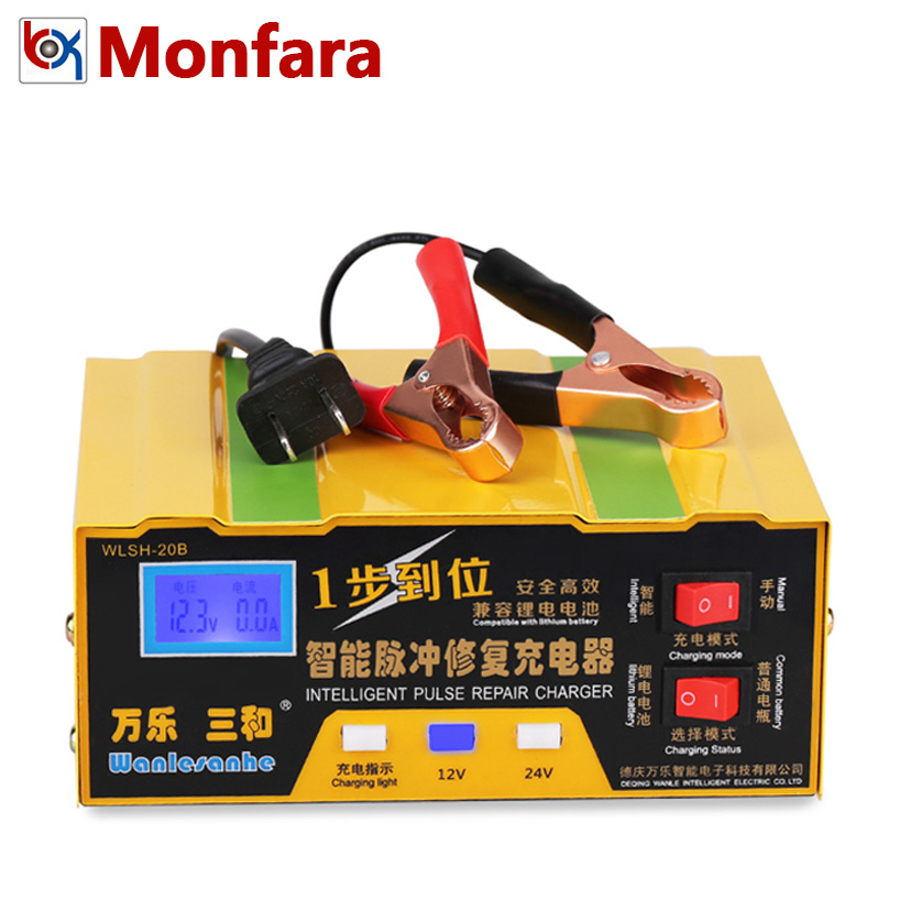 Intelligent Pulse Repair Automatic Moto Battery Charger for 12V 24V Car Motorcycle Lead Acid 12 V Volt Lithium Li ion Batteries