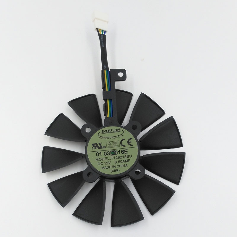 New Original EVERFLOW T129215SU DC 12V 0.5A 85mm VGA Card Cooling Fan For Graphics Card ASUS GTX980Ti, R9 390 390X, GTX1070 1080 new original for asus graphics card fan diameter 90mm pitch 42mm thermostat power logic pld09210d12hh 12v 0 40a