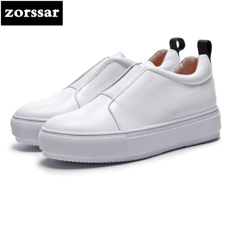 {Zorssar} 2018 New Genuine Cow Leather Flat Shoes Women Sneakers High Quality Comfortable Flats Women Casual Shoes Couple shoes women s shoes 2017 summer new fashion footwear women s air network flat shoes breathable comfortable casual shoes jdt103