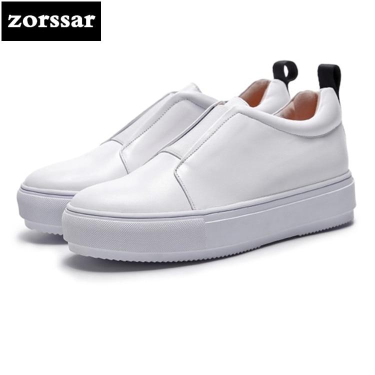 {Zorssar} 2018 nouvelles chaussures plates en cuir de vache véritable femmes baskets haute qualité appartements confortables femmes chaussures décontractées Couple chaussures
