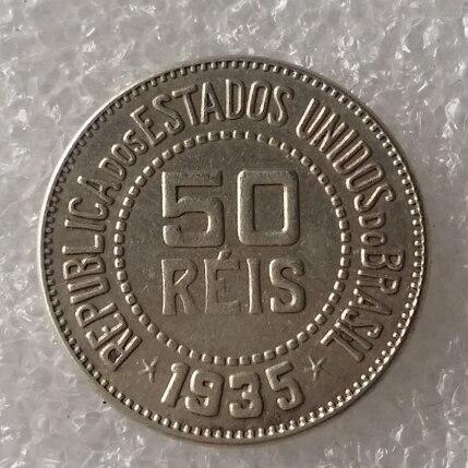 Хорошее качество Бразилии 50 Reis 1935 Медь и никелевого сплава монеты скопировать