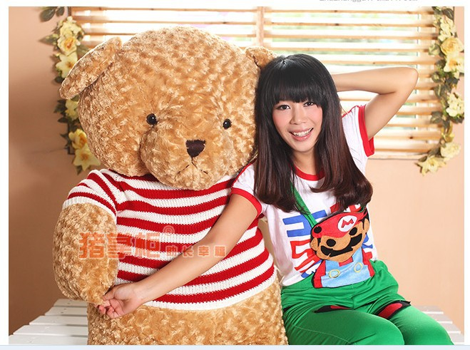 ФОТО the big lovely  teddy bear toy plush bear toy with white and red stripe cloth doll birthday gift about 100cm