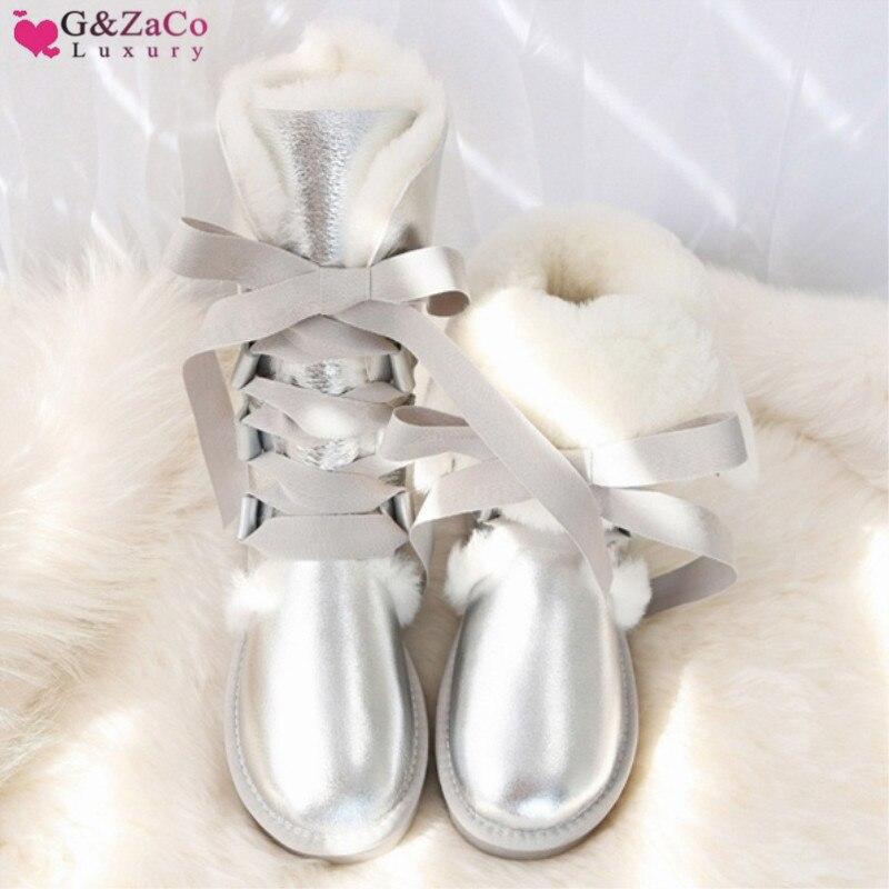 G & Zaco bottes de neige de luxe en peau de mouton à hauteur du genou femmes australie caoutchouc naturel hiver laine bottes de fourrure de mouton à lacets