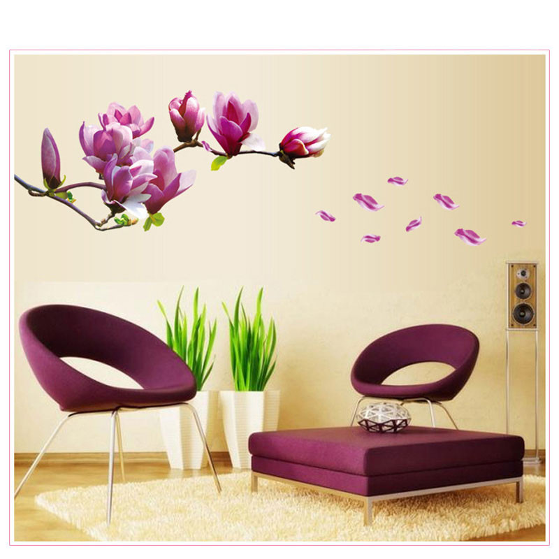 HTB1mYcMKFXXXXaRaXXXq6xXFXXXv - 1PCFlower Wall Sticker 3D Vinyl Wall Decals Living Room Home Decor Bedroom Poster Wall Stickers Decorative Accessories Wallpaper