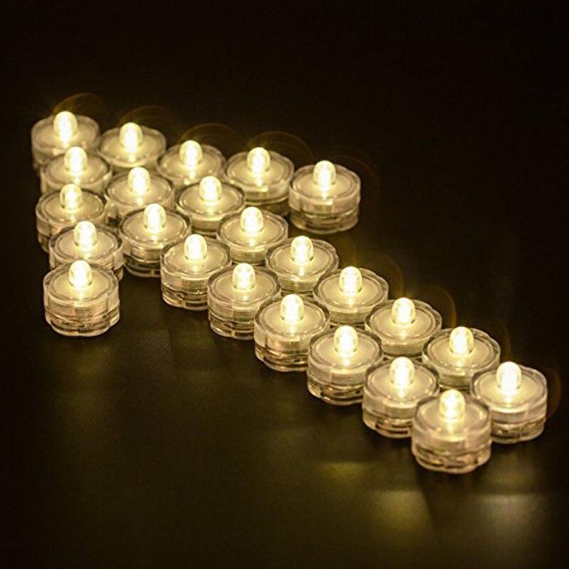 Lumières submersibles de LED, bougies sous-marines imperméables de thé de LED de mariage pour des centres de table/partie/ensemble de noël de 24