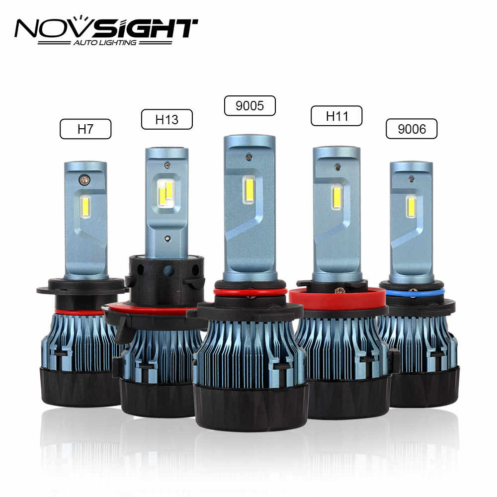 NOVSIGHT H4 H7 H11 Car LED Headlights H8/H9 9005 9006 H13 60W 10000LM Play and Plug Driving Fog Lamps DIY Fan 6500K White D46