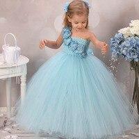 572d410a44e331 Gorgerous Blue Girl Dress With Flower Causal Baby Girl Tutu Dress Birthday  Wedding Performance Kids