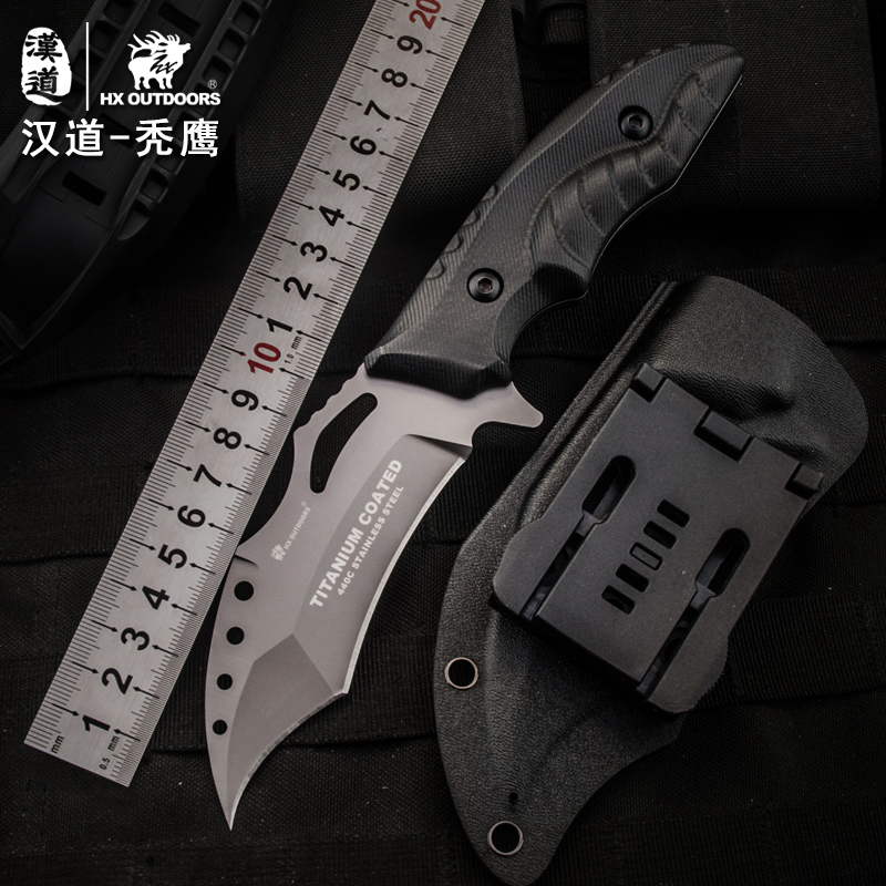 HX outdoor multi tactical knife surface plated titanium fixed blade brand survival knife pocket camping hand tool hunting knives high quality army survival knife high hardness wilderness knives essential self defense camping knife hunting outdoor tools edc