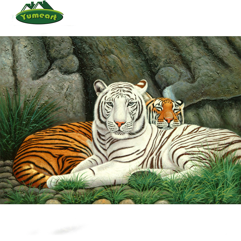 5D DIY Diamond Embroidery White And Brown Tiger 3d Cross