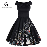 Minifaceminigirl Vintage Dresses Retro 1950s Style Print Butterfly Elegant Party Dress Patchwork Luxury Vintage Dresses