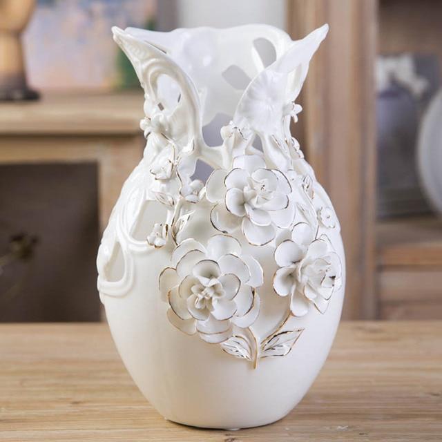 jarrones modernos accesorios para el hogar decoracin saln creativo continental dorado rose flor florero titular - Jarrones Modernos