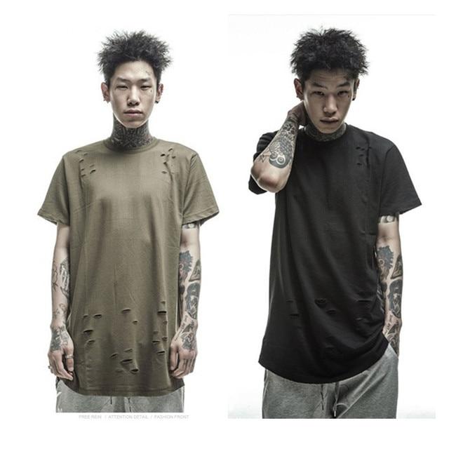 Kanye West Broken Clothing Hip Hop Oversize T shirt Men Skateboard  Streetwear Short Hole Tees Summer
