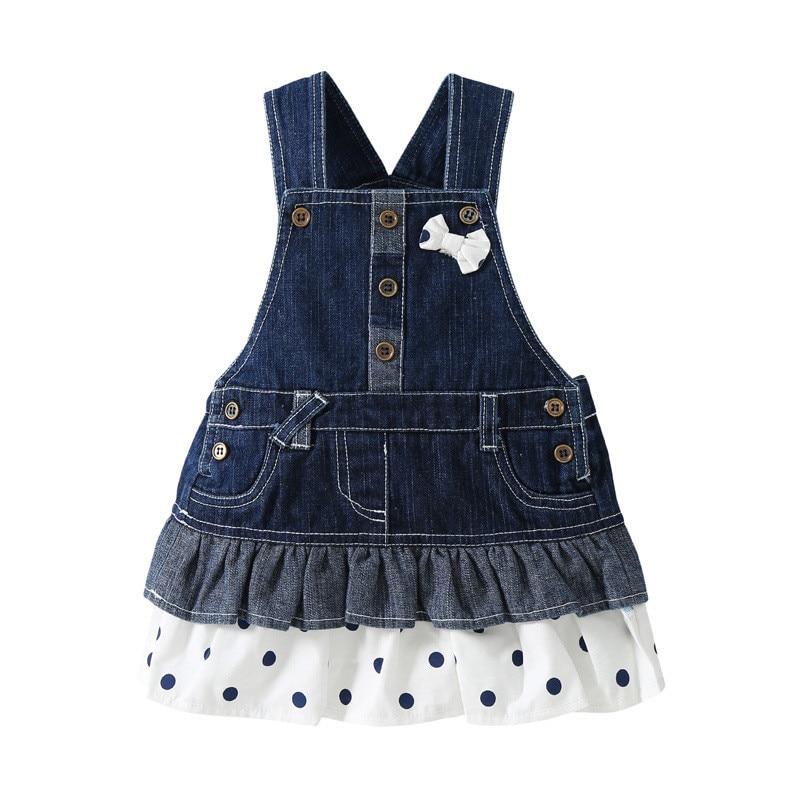 0-3 Year Children Girls Denim Dress Overalls 2016 Spring Autumn Style Kids Girl Jean Bow Straps High Quality Kids Clothes