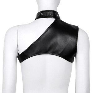 Image 2 - TiaoBug Women Black Faux Leather Halter Crop Top One Shoulder Adjustable Steampunk Gothic Chest Harness Belt Sexy Corset Bustier