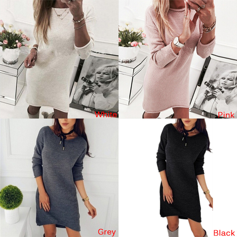Christmas Sweaters And Pullovers Long Sleeve Long Knitted Sweater Dress Casual Solid Winter Jumper Pull Femme For Women Girls
