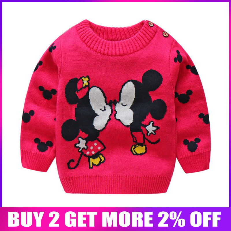 BibiCola baby girl winter clothes toddler baby cartoon sweater jumper kids 0-neck pullover tops fall winter clothes velvet coat