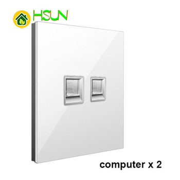 86 Type White Tempered glass Switch 1 2 3 4 gang 1 2 way Lizard Point Switch Comuter TV Telephone Socket Household Wall Switch 11