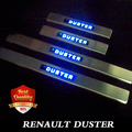 RENAULT DUSTER LED stainless Stee Door Sills Scuff Plate fit for Dacia Duster 2010-2015 dual tone door sills Blue LED light