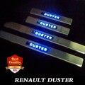 Renault Duster из светодиодов из нержавеющей ентэо дверные пороги скребок , пригодный для Dacia Duster 2010 - 2015 двухтональные дверные пороги синий из светодиодов свет