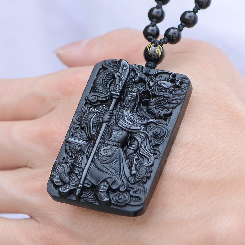 QIANXU Black Obsidian Buddha Necklace Pendant Guan Yun Dragon Jade Pendant Jade Jewelry Fine Jewelry